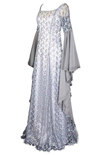 Tollstore Damen Langarm Mittelalter Kleid, Gothic Viktorianischen Königin Kostüm mit Spitze, U-Ausschnitt Trompetenärmel Asymmetrisch Prinzessin Renaissance Kleid Bodenlänge XL