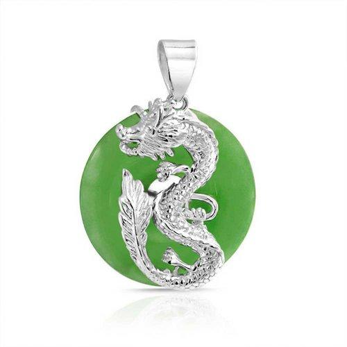 Drachen Runde Open Circle Disc Gefärbt Grün Jade Anhänger 925 Silber Halskette Für Frauen 18 Zoll ()