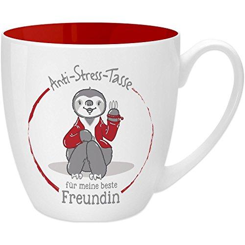 Gruss & Co 45509 Anti-Stress Tasse für die Freundin, 45 cl, Geschenk, New Bone China, Rot, 9.5 cm