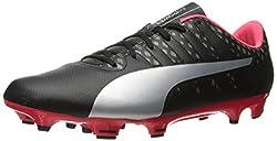 PUMA Mens Evopower Vigor 4 FG Soccer Shoe, Puma Black/Puma Silver/Quiet Shade/Bright Plasma, 7 M US