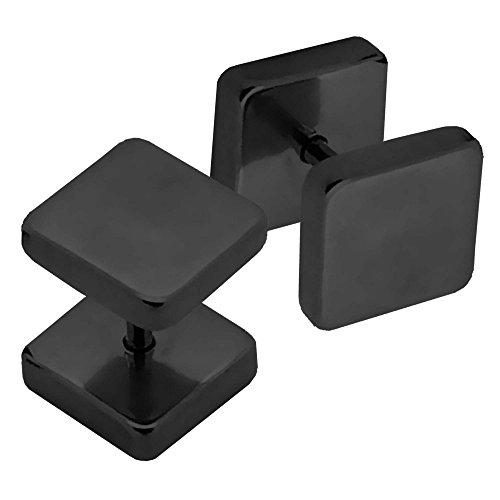 2 Plugs Falso Fakeplug Aretes Pendientes sin dilatación cuadrado tetragonal 4 mm