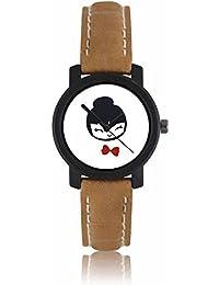 Kairos Analogue Stylish White Dial Brown Leather Strap Wrist Watch - For Women