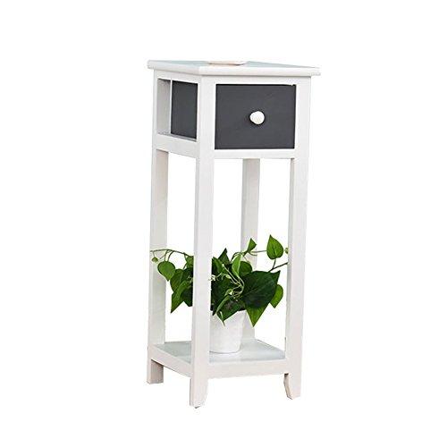 ZWD Étagères de pot de plancher d'intérieur, étagère multifonctionnelle de chambre à coucher simple en bois gris foncé de salon avec le tiroir ferme Produits menagers (taille : 25 * 25 * 63CM)