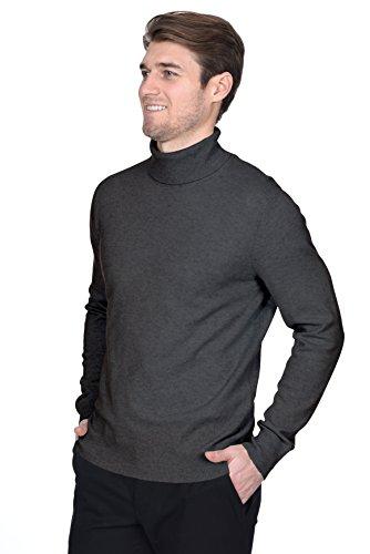 STATE FUSIO langärmliger Pullover aus Kaschmirwolle mit Rollkragen für Herren, Premium-Qualität Holzkohle