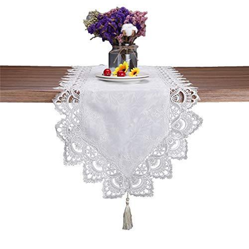 Nappe en dentelle blanche rectangulaire pour fête de mariage, maison et cuisine., blanc, Table runner 15\