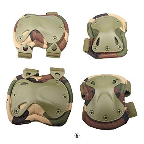 Febelle 1 Paar Knieschoner und 2 Ellbogenschützer für den Außenbereich, taktischer Schutz Knieschoner Ellenbogenbandage Set, Dschungel-Camouflage