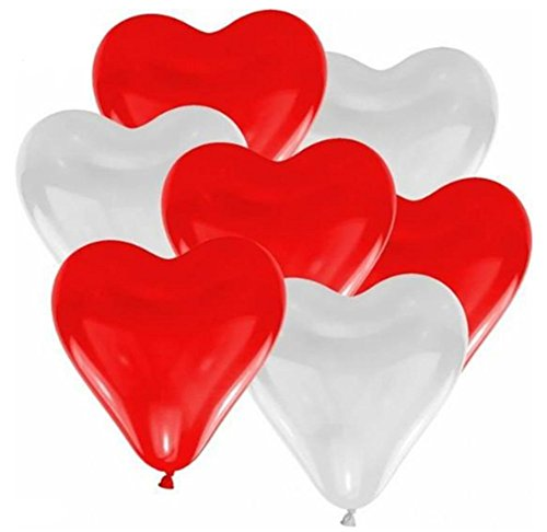 Drawihi 100 Stück Herzform Latex Ballon Luftballons Hochzeitskleid Ballon Hochzeit Party Dekoration...