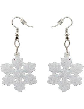 Zest Ohrringe schillernde weiße Glitzernde Schneeflocke-Ohren mit Ohrlöchern