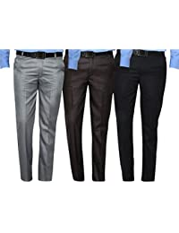 Mark Pollo Cotton Rich Fabric Regular Fit Formal Trousers For Men (Pack Of 3)
