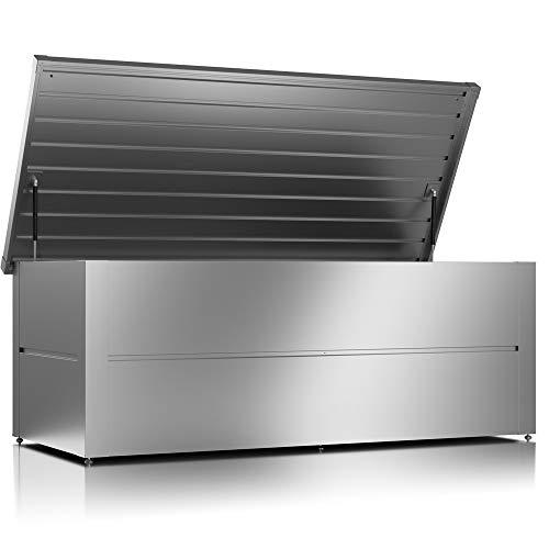 ILESTO Aufbewahrungsbox aus Stahl, Benjamin (783L): Auflagenbox wasserdicht XXL | Kissenbox für Ihren Garten 185x85x69cm | Stauraum für den Außenbereich | Silber Metallic