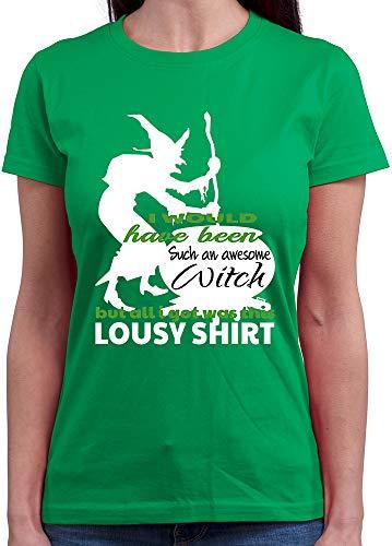 HARIZ  Damen T-Shirt Rundhals I Would Have Been An Awesome Witch Halloween Kostüm Verkleidung Umhang Inkl. Geschenk Karte Grün M