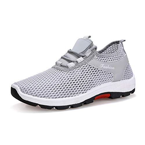 2019 Summer Unisex Couples Breathable Mesh Sneakers Men Shoes Comfortable Male Shoes Loafers Casual Walking Footwear D-1 Gray 40