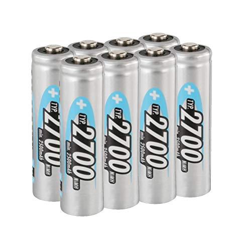 ANSMANN Akku AA 2700mAh NiMH 1,2V - Mignon AA Batterien wiederaufladbar, mit hoher Kapazität ideal für hohen Strombedarf wie Kamera, Foto-Blitz, Taschenlampe, Controller (8 Stück)