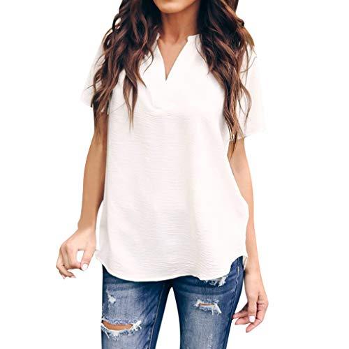 MIRRAY Damen-Sommer-Arbeits-Büro-festes grundlegendes V-Ansatz-Kurzschluss-Hülsen-beiläufiges Spitzen-T-Shirt