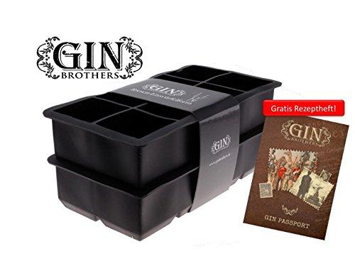 Mit GRATIS Gin Tonic Rezeptheft - 2er Pack XXL-Eiswürfelform für je 8 Eiswürfel, 5x5 cm Eiswürfel, riesige Eiswürfelform, 100% BPA frei, Lebensmittelecht, kühlt lange und verwässert nicht. (Nicht Silikon)