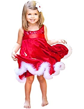 Amlaiworld rot Baby Weihnachten Plüsch geschnürter kleidung Mädchen mode Pailletten Ärmellos niedlich lang kleider...