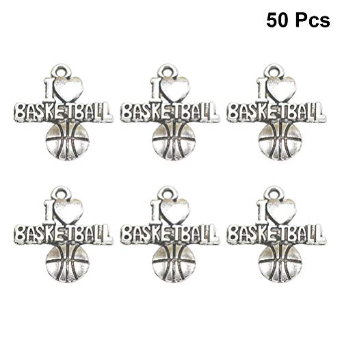 FENICAL Legierung Anhänger DIY Basketball Charms I LOVE BASKETBALL Schmuckherstellung Halskette Armband Zubehör 50 ()