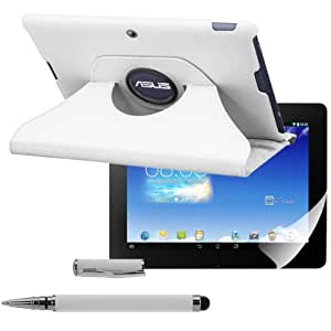 kwmobile 3in1 Set: Hülle 360° für Asus Memo Pad FHD 10 Case mit Ständer - Schutzhülle Tablet Tasche mit Standfunktion in Weiß + Folie, kristallklar + Stylus, Weiß