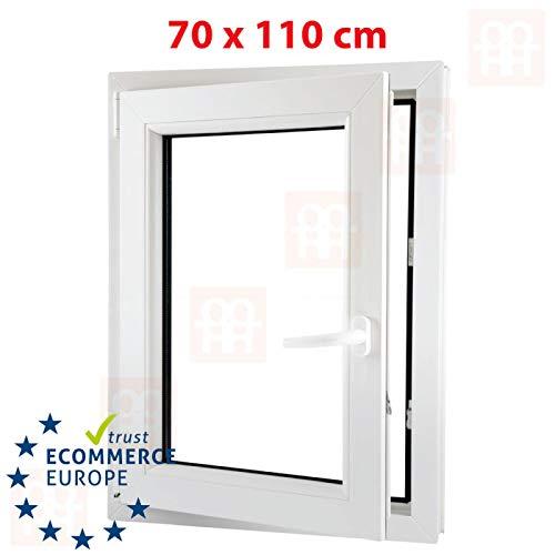 Kunststofffenster | 70x110 cm (700x1100 mm) | weiß | Dreh-Kipp-Fenster | links | 6 Kammern