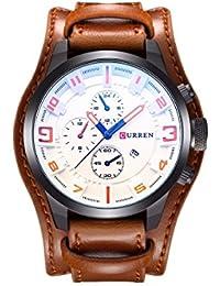 Curren los hombres de moda militar Classic correa de piel reloj, calendario, la fecha Display (blanco)