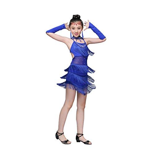 Huicai Pailletten Fringe Blau Rosa Rot Salsa Kleid Kind Mädchen Kinder Latin Kleider Mädchen Latin Dance Kostüme