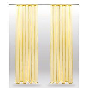 Bestlivings Dekoschal Noella mit Universalband, transparente Gardine Voile b 140x l 145 cm 2er Pack, Wohnaccessoire in vielen erhältlich (gelb - lemongelb)