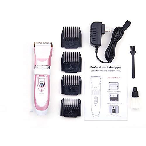 WYYZSS Kit Tosatrice Professionale per Cani Tagliacapelli Animali Gatto Ricaricabile Tosatore Elettrico 4 Pettine Testina Regolabile-Rosa