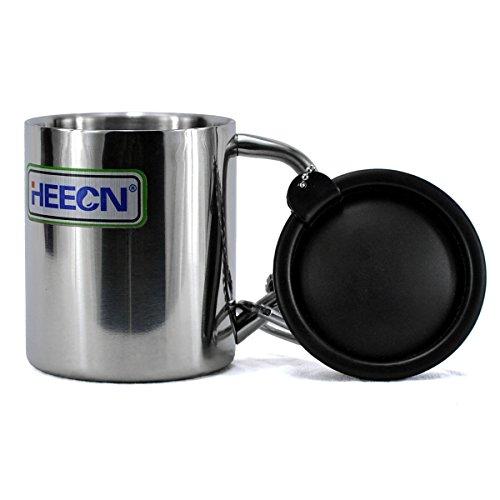 heecn Camping Becher 220 ml mit Deckel doppelwandig Edelstahl Kaffee Tasse