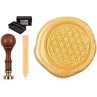 Juego de sellos con sello, grabado, símbolo de la flor de la vida diseño, incluye 1barra de cera