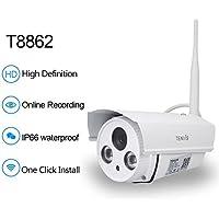 Tenvis T8862 - Caméra IP Wi-Fi pour extérieur, HD 720P (1.0 mégapixels), Vision nocturne, Slot micro sD, ONVIF, P2P Plug & Play