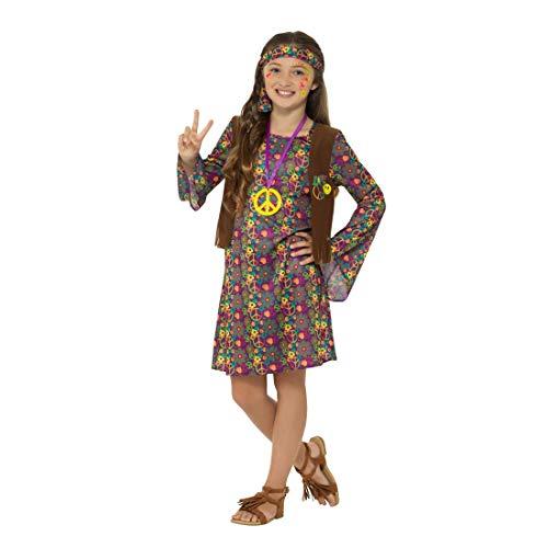 NET TOYS Hippie-Kleid Mädchen | Größe L, 10 - 12 Jahre, 145 - 158 cm | Hübsches Kinder-Outfit Blumenmädchen | Perfekt geeignet für Fasching & ()