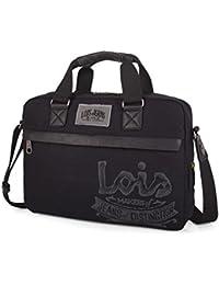 """Lois - Portadocumentos Mensajero 15"""" para portátil con Bandolera Ajustable y Doble asa. Cierre Cremallera Doble cursor. Bolsillo Exterior Delante. Lona 21637"""