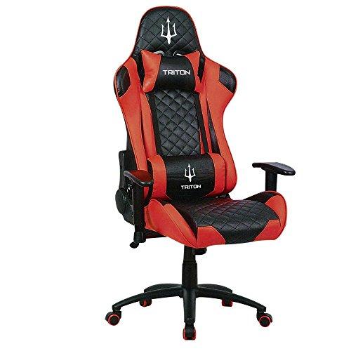 Triton p050-x3-br Gaming Chair-sedia, Simili Cuir, Noir/Rouge, 70x 65x 125cm