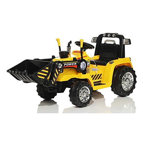 Toyas Kinder Elektro Bagger Traktor Auto Fahrzeug Fernbedienung 2X 25 Watt Motor Gelb