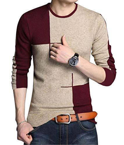 EYEBOGLER Regular Fit Men's Cotton T-Shirt (S-T91-KMWM, Khaki Melange-Wine Melange,Small)