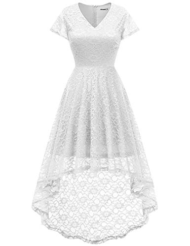 bbonlinedress Damen Elegant Spitzenkleid Kurzarm Cocktail Rockabilly Party Hi-Lo Kleid White L -