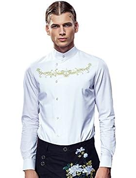 [Sponsorizzato]FANZHUAN Camicia Uomo Aderente Bianca No Stiro Slim Elegante Embroidery