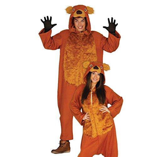 Teddy Bär Karneval Motto Party Kostüm für Erwachsene Braun Einteiler Gr. M - L, Größe:L