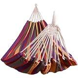 HAMACA para Colgar 200x100 cm COLOR MORADO para 2 PERSONAS para Playa Piscina Jardin Camping 70% Algodon