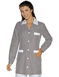 Isacco-túnica médica Marbella, diseño de rayas, color negro, color blanco, 100% algodón