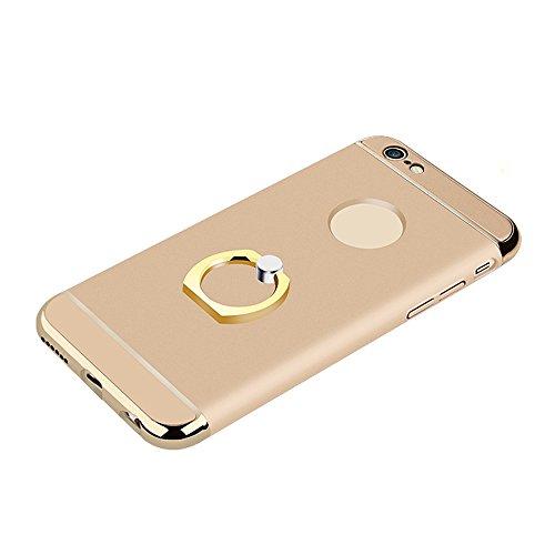 Skitic 360 Degrés de Rotation Ring Stand Holder Clair Housse de Protection Étui Coque pour iPhone 6 / iPhone 6S, Ultra Mince 3 In 1 Hybrid Dur PC case Protecteur Bumper cover avec Electroplate Plating Or
