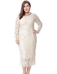 YiJee Mujer Encaje Ajustado Vestido Talla Grande Cuello Redondo Vestidos