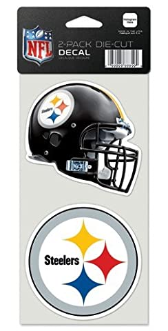 "NFL Pittsburgh Steelers Perfect Cut Decal (Set of 2), 4"" x 4"""