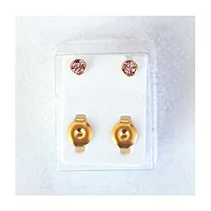 BRAND NEW EAR PIERCING STUD 4 MM BEZEL ROUND STUDS EARRINGS STUD CERTIFIED STERILE SEALED PACK GOLD COLOUR PLATED
