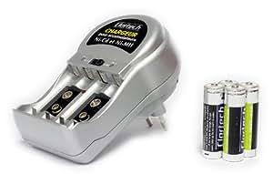 Clartech - Chargeur de batteries AA/AAA/9V RC902814 + 4 batteries AA