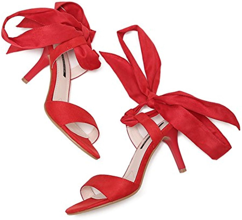 Cross Riemchen Sandalen Sexy Stiletto/Wort Peep-Toe Wildlederpumps in Europa und Amerika-Rot Fußlänge=24.3CM(9.6Inch)