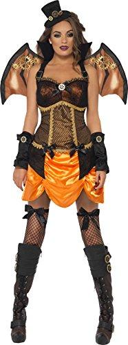 Smiffys, Fever Damen Sexy Steam Punk Fledermaus Kostüm, Oberteil mit Kragen, Rock, Flügel und Hut, Größe: S, - Punk Rock Kid Kostüm