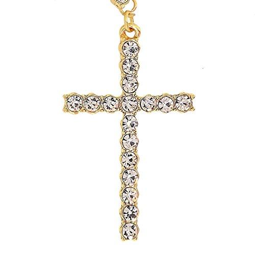 Bling King 1Zeile Vergoldet Icy Kreuz Halskette