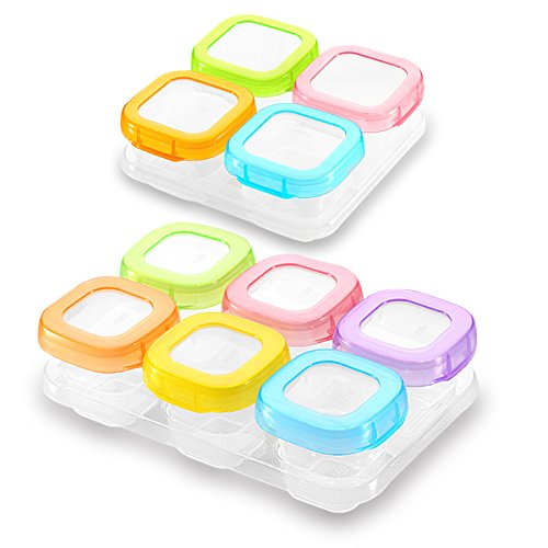 Sonarin contenitore per alimenti per bebè, privo di bpa,contenitore di conservazione per alimenti per bambini, adatto a congelatore e microonde(6 x 60ml + 4 x120ml)