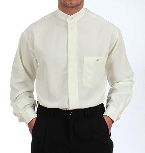 Stehkragenhemd in Eierschale, für Herren BESTE QUALITÄT, HK Mandel Uniformkragen hemd Langarm Normal Nicht Tailliert, 1185 Eierschale